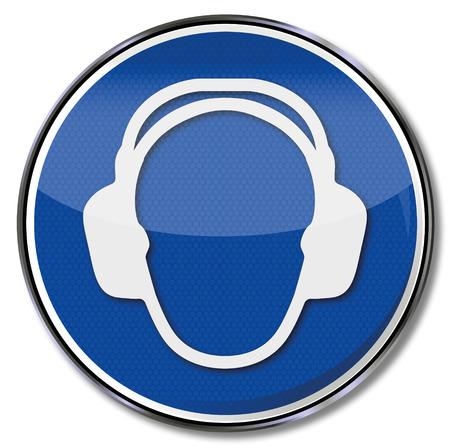 Gebodssignaal draag altijd een koptelefoon en gehoorbescherming Stock Illustratie