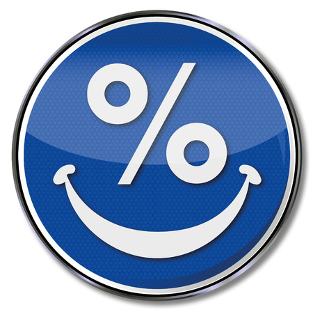 Percent sign and smiling face Vector