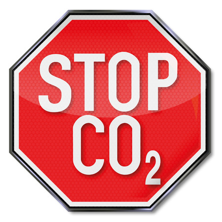 environmental policy: Stop sign CO2 Illustration