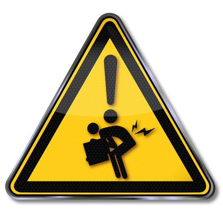 Warning sign herniated through incorrect lifting Ilustracja
