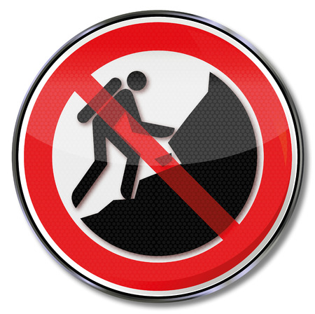 the slope: Prohibition sign forbidden to climb on the slope