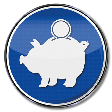 profit and loss: Sign piggy banks and investment wallet Illustration