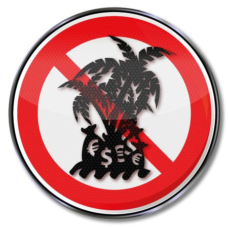 Prohibition sign tax haven Illusztráció