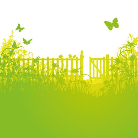 庭のフェンスとゲートを開く  イラスト・ベクター素材