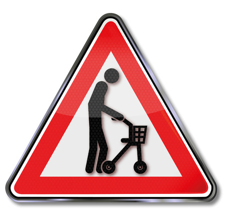 slowness: Sign old man with a rolling support Illustration