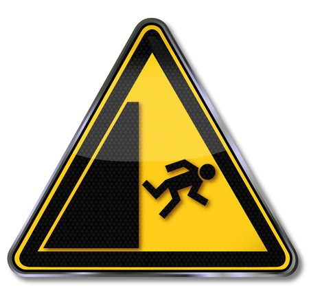hazardous material: Danger sign warning risk of falling
