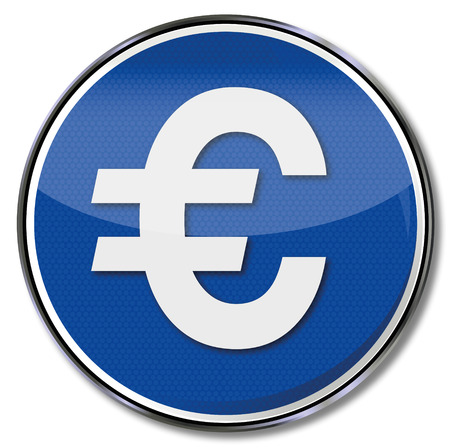 tax policy: Button euro sign Illustration