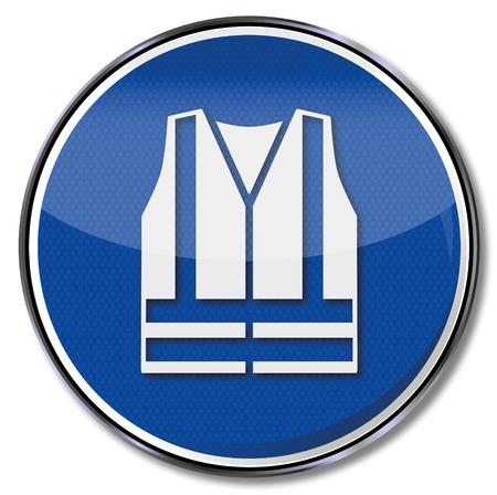 предупреждать: Обязательное знак использование жилет безопасности Иллюстрация