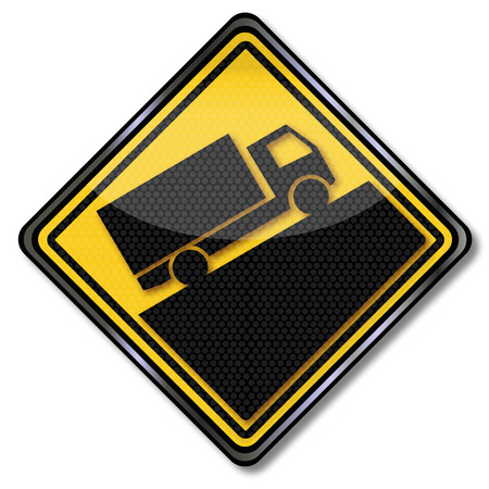 force of the wind: Warning sign trucks and slope Illustration