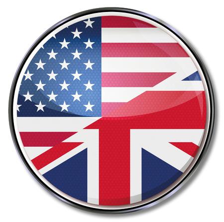 Traduction en anglais du bouton et américain Banque d'images - 24476945