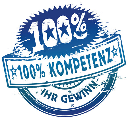 competent: Rubber stamp 100  competence Illustration