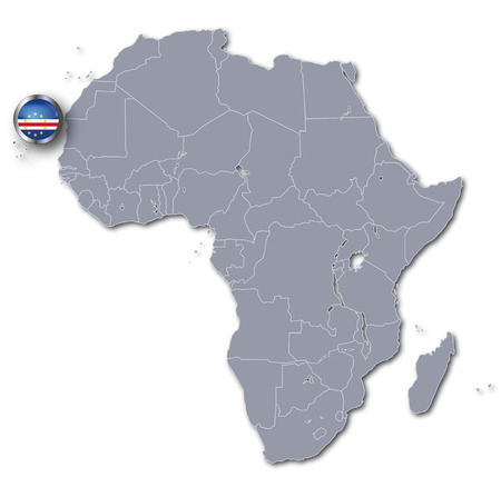 cape verde flag: Africa map with Cape Verde Stock Photo