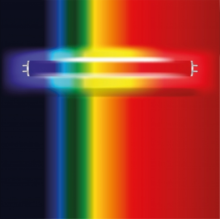Neon lamp met zichtbare spectrum