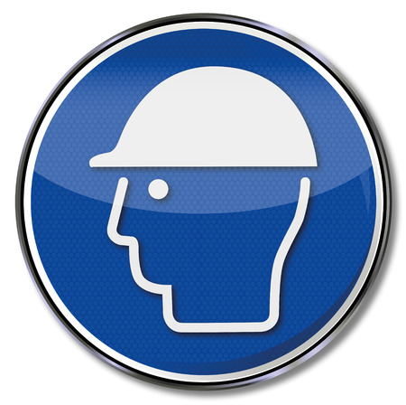 head protection: Mandatory sign use head protection Illustration