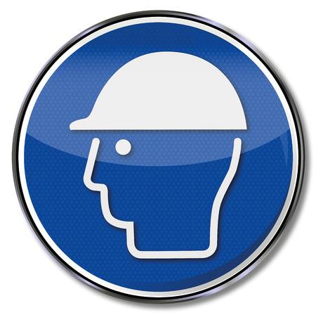 Mandatory sign use head protection Illustration