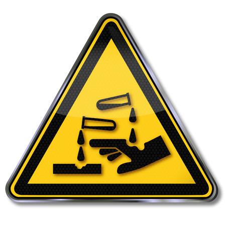 기호 부식성 물질 경고 일러스트