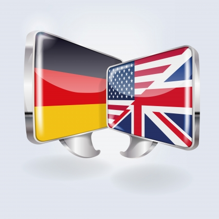 Bubbles and speech in German, English and American  Vector
