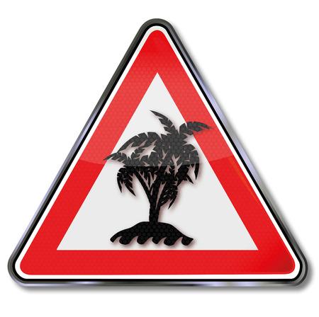 elvonult: Pajzs kis félreeső Palm Island Illusztráció