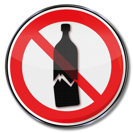 breakage: Prohibition sign warning of possible glass breakage and sensitive goods  Illustration