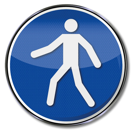 pedestrian walkway: Mandatory sign use walkway