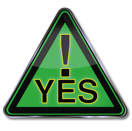 Green sign with a big yes  Vector