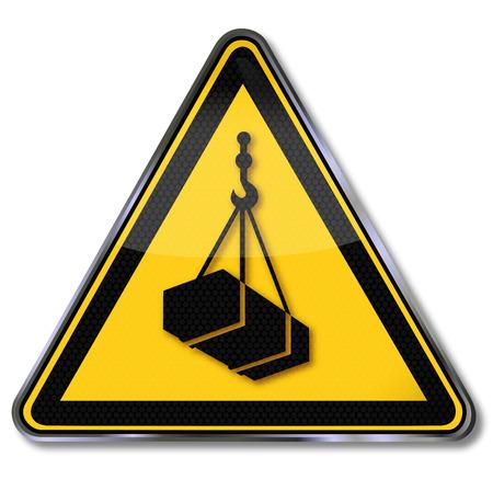 Warning sign warning of suspended load