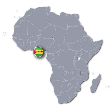 principe: Mapa de África con Santo Tomé y Príncipe