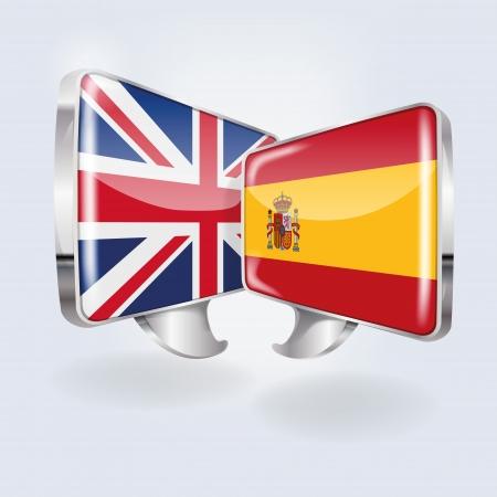 泡と音声スペイン語と英語  イラスト・ベクター素材