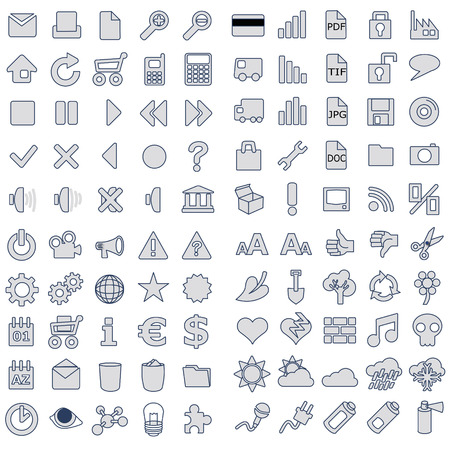 rubbish cart: 100 web icons in gray