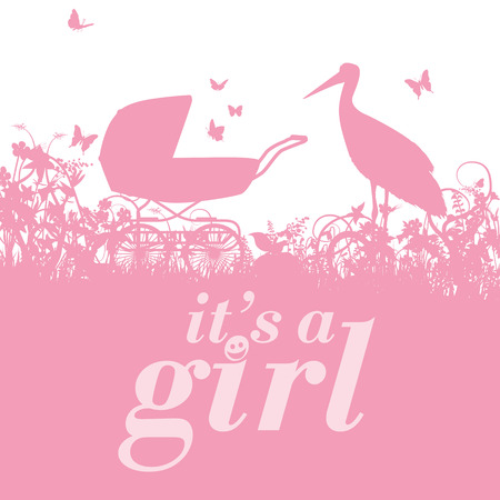 it girl: Stork and baby carriage with it s a girl