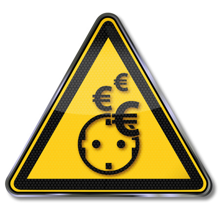 rip off: Yellow sign euros, electricity, power saving and power consumption