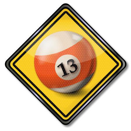 misfortune: Sign billiard ball number 13 Illustration