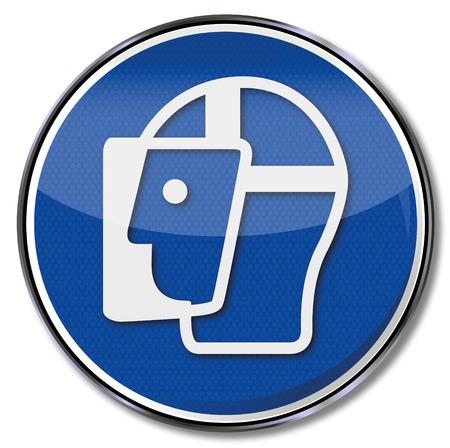 prevencion de accidentes: Utilizaci�n signo obligatoria la cara Vectores