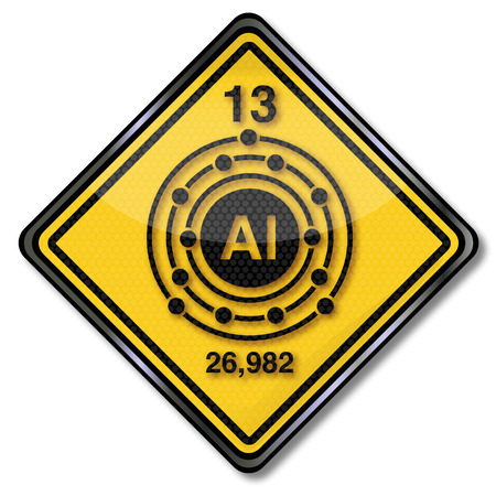electron shell: Sign chemistry character aluminum  Illustration