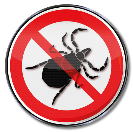 ticks: Prohibition sign caution ticks and tick bites  Illustration