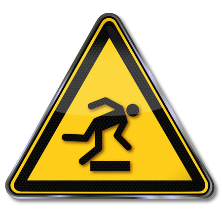 hazardous material: Danger sign warning of danger of stumbling