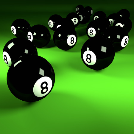 Black billiard balls number eight photo