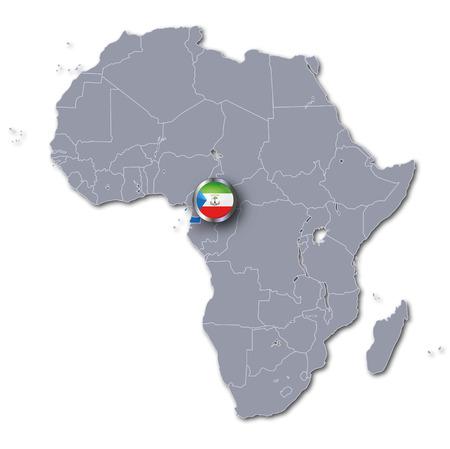 Africa map with Equatorial Guinea Фото со стока