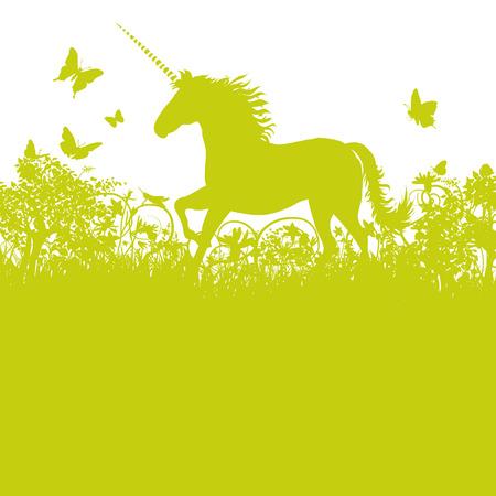 origen animal: Unicornio en el pasto