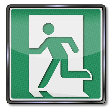 green exit emergency sign: Fire safety sign with emergency exit  Illustration