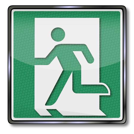 no correr: Señal de seguridad contra incendios con la salida de emergencia