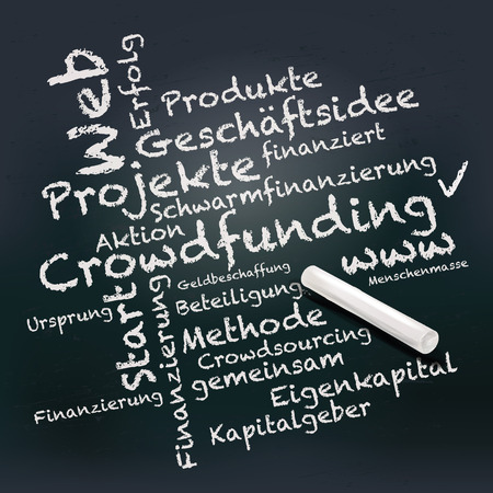 Blackboard and chalk with crowdfunding Vector