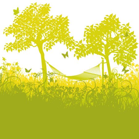 grass blade: Hammock between two trees in the garden  Illustration