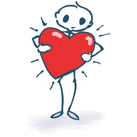 Stick figure with a red heart Illusztráció