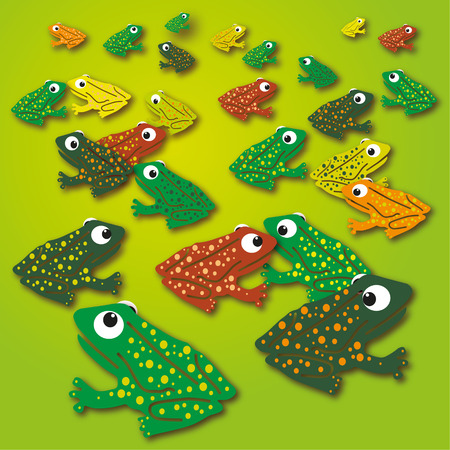 Ornament frogs on the green meadow  Vector