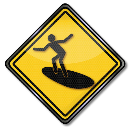 rounder: Sign surfer and surfing  Illustration