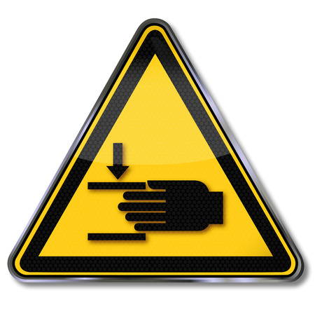 warning triangle: Danger sign warning of injury to hands