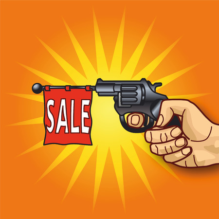 cheap: Hand with revolver and sale
