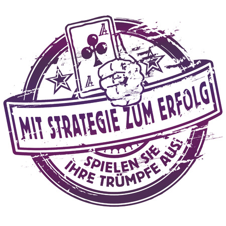 Rubber stamp stamp with strategy for success Illustration