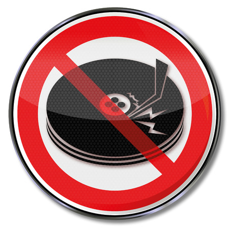 memory loss: Prohibition sign with scratched disk  Illustration